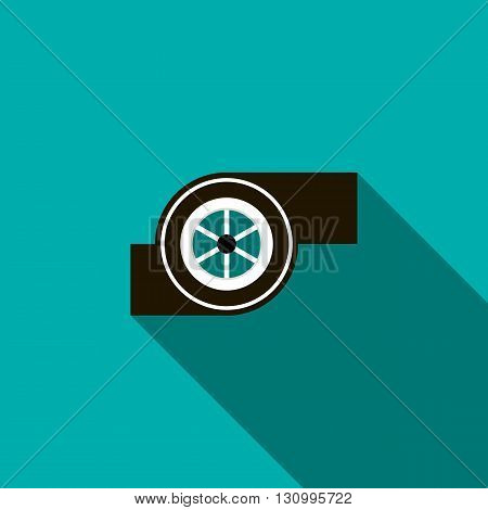 Turbocharger icon in flat style on a turquoise background
