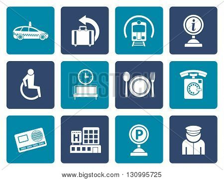 Flat airport, travel and transportation icons 2 - vector icon set