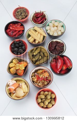 Pickled cucumber, onion, olives, peppers and vegetables