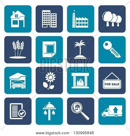 Flat Real Estate and building icons - Vector Icon Set
