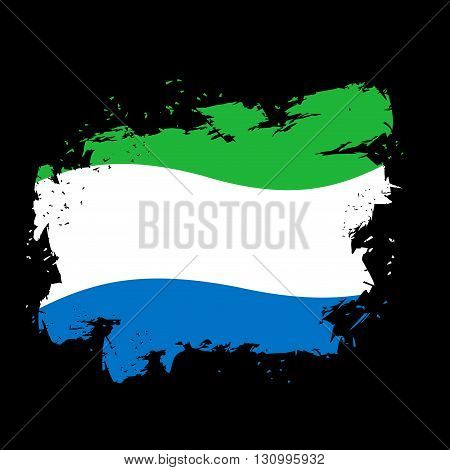Sierra Leone Flag Grunge Style On  Black Background. Brush Strokes And Ink Splatter. National Patrio