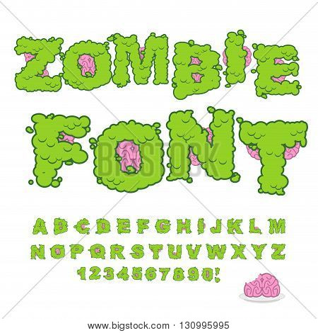 Zombie Font. Scary Green Letters And Brain. Horrible Halloween Alphabet.  Abc Of Walking Dead