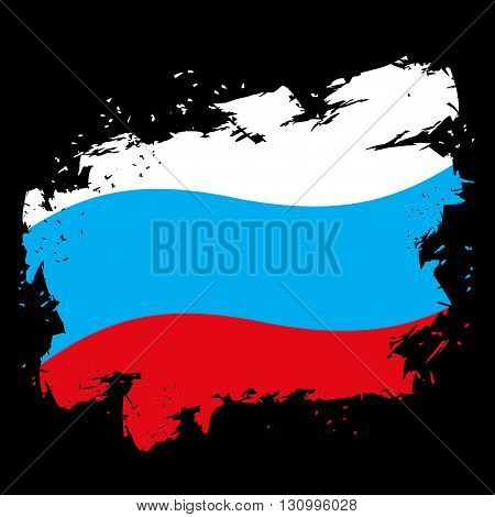 Russian Flag Grunge Style On Black Background. Brush Strokes And Ink Splatter. National Symbol Of Ru