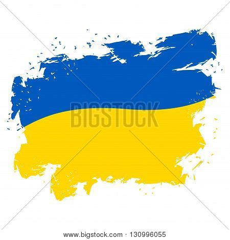 Ukraine Flag Grunge Style On White Background. Brush Strokes And Ink Splatter. National Symbol Of Uk
