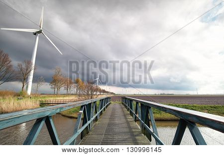 wind turbines on Dutch farmland in sunshine Flevoland Netherlands