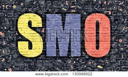 SMO - Multicolor Concept on Dark Brick Wall Background with Doodle Icons Around. Modern Illustration with Elements of Doodle Design Style. SMO Concept. SMO - Social Media Optimization.