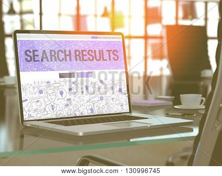 Modern Workplace with Laptop Showing Landing Page in Doodle Design Style with Text Search Results. Toned Image with Selective Focus. 3D Render.