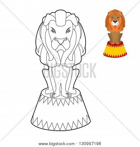 Circus Lion Coloring Book. Big Serious Animal In Linear Style. Wild Cruel Animal Sitting On Pedestal