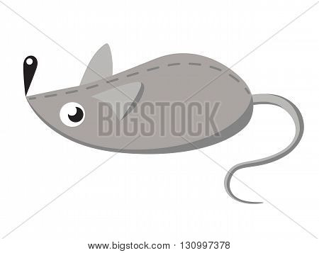 Gray toy mouse. Vector illustration of a toy for Pets
