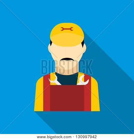 Plumber icon in flat style on a blue background