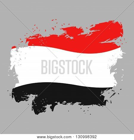 Yemen Flag Grunge Style On Gray Background. Brush Strokes And Ink Splatter. National Symbol Of Yemen