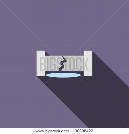 Water pipe broken icon in flat style on a violet background