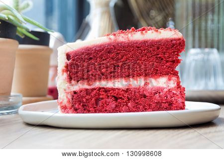 Concept of cut a piece of cake Red Velvet