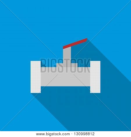 Stopcock and pipe icon in flat style on a blue background