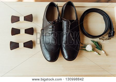 Groom Set Clothes. Shoes And Bow Tie