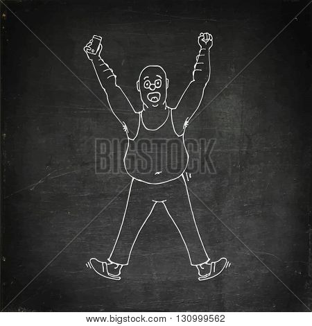 Excited  man celebrating success with hands raised. Hand drawn vector stock illustration. Chalk board drawing
