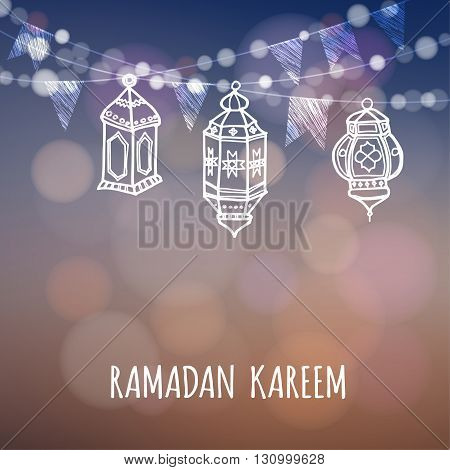 Ramadan greeting card. Illuminated arabic lanterns. Ramazan decoration. Vector illustration background for muslim holy month Ramadan Kareem.