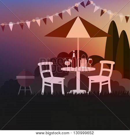 Summer garden party. Summer outdoor barbecue. Sunset background. Vacation vector illustration.