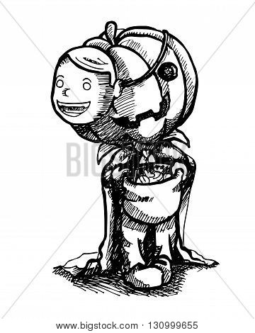 Vector illustration Trick or Treat, pen stroke pumpkin boy.