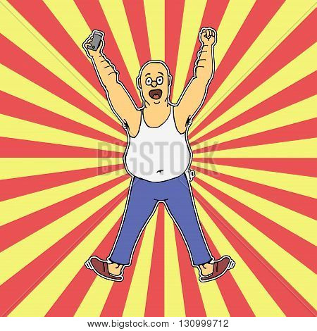 Excited  man celebrating success with hands raised. Hand drawn vector stock illustration. Colorful rays background