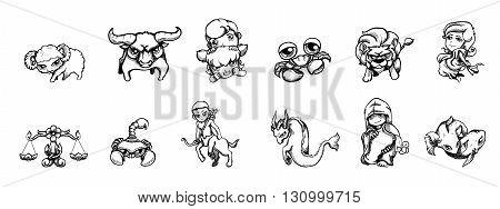 Vector illustration Pen stroke Zodiac signs cartoon