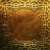 ������, ������: Gold metal plate with classic Arabic ornament metal collection Golden texture with metal carved Is