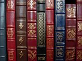 stock photo of book-shelf  - a row of leather bound books on a shelf - JPG