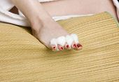 Womans Foot With Red Nail Polish poster
