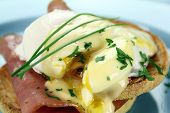 image of benediction  - Delicious breakfast of eggs benedict with beautiful rich hollandaise sauce - JPG