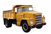 picture of dump_truck  - this is a picture of a old yellow city dump truck isolated on a white background - JPG