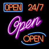 Set of glowing neon OPEN signs. Vector.