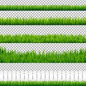 Realistic Green Grass Borders, Isolated on Transparent Background, Vector Illustration poster