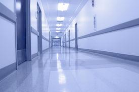 stock photo of light fixture  - bluish hospital corridor during the night  - JPG