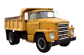 foto of dump_truck  - this is a picture of a old yellow city dump truck isolated on a white background - JPG