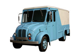 foto of food truck  - this is a picture of an old milk truck the kind used when they brought the milk and ice cream to your door - JPG