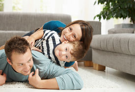 image of children playing  - Happy family playing at home - JPG