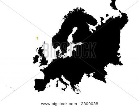 Europe With Highlighted Faroe Islands Map