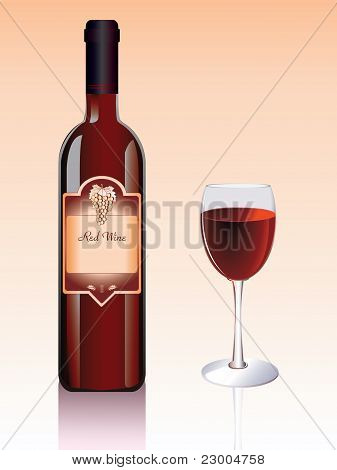 Red wine bottle and glass