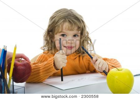 Beautiful Little Girl With Pencils