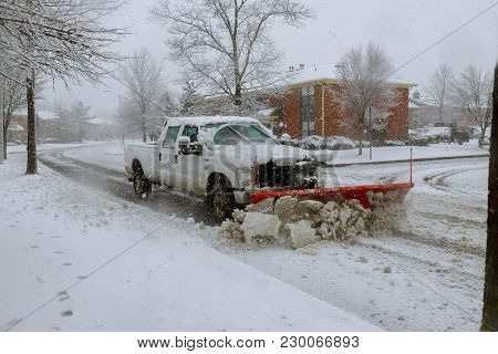 poster of Snow Plow Removing Snow From Street. Snowplow Trucks Removing Snow On The Road Street
