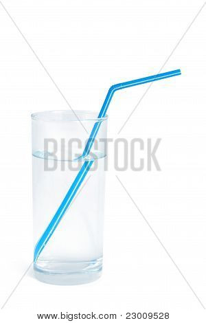 Water Glass With A Blue Straw