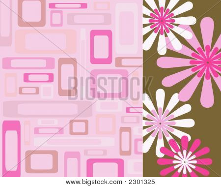 Pink And Brown Rectangles And Flowers