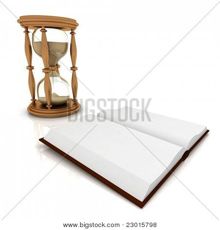 Abstract image of sand-glasses and open book on a white background