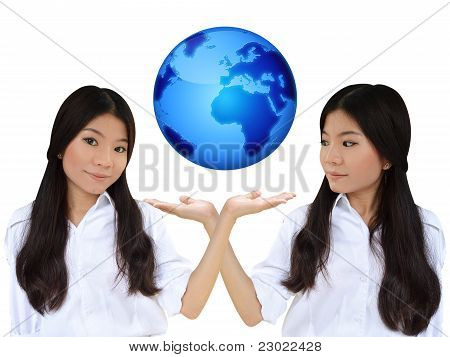 Business Woman And The Blue Earth