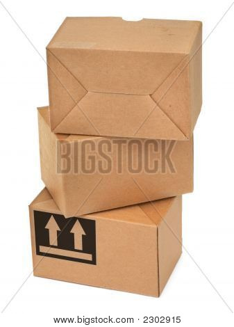 Stack Of Three Cardboard Boxes