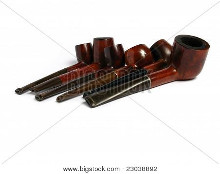 Many Elegant wood Pipe on white background