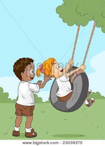 Ilustração de crianças brincando com um balanço