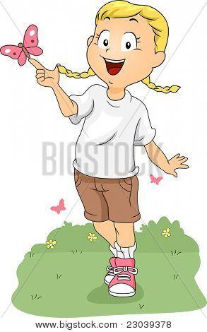 Ilustração de um campista brincando com uma borboleta
