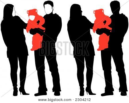 Silhouette Of New Happy Family