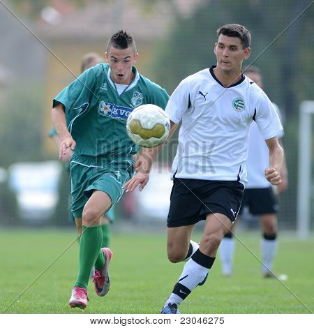 KAPOSVAR, HUNGARY - AUGUST 27: Konrad Kiss (L) in action at the Hungarian National Championship under 18 game between Kaposvar (green) and Gyor (white) August 27, 2011 in Kaposvar, Hungary.